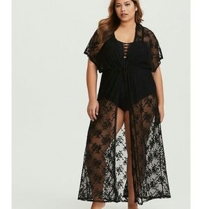 Torrid black sheer lace maxi cover up